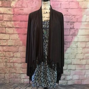 🆕listing NWOT Microsuede Fringed Open Cardigan L